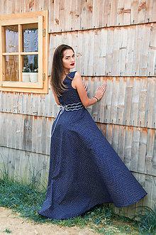 Šaty - Modrotlačové šaty s opaskom - 8463402_
