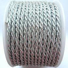 Galantéria - Šnúra točená s lurexom-1m (3mm-strieborná) - 8463712_