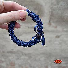 Náramky - náramek dutinkový háčkovaný ze stužky, modrý 029 - 8462941_