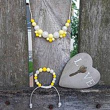 """Sady šperkov - Set silikónového náhrdelníka a náramku """"Ľadová citronáda"""" - 8464132_"""