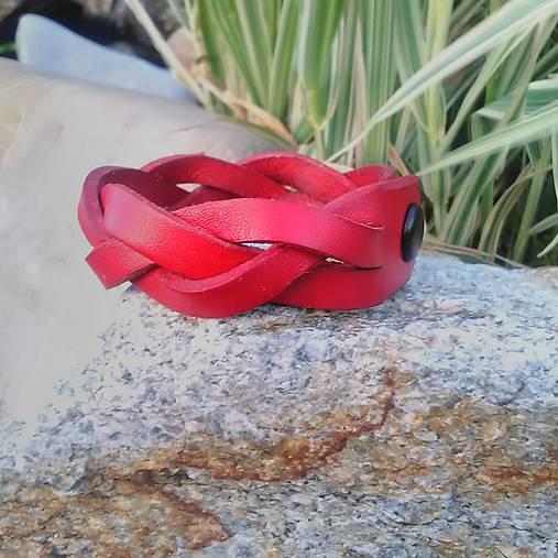 Kožený náramok pletený červený široký 2cm