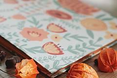 Papiernictvo - Fotoalbum, klasický, polyetylénový potlačený obal s potlačou oranžových kvetín - 8463325_