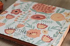 Papiernictvo - Fotoalbum, klasický, polyetylénový potlačený obal s potlačou oranžových kvetín - 8463328_