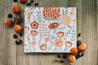 Papiernictvo - Fotoalbum, klasický, polyetylénový potlačený obal s potlačou oranžových kvetín - 8463327_