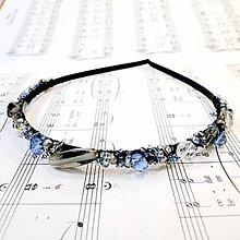 Ozdoby do vlasov - Blue-Grey Beads Headband / Modro - šedá korálková čelenka #0257 - 8464795_