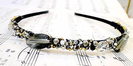 Ozdoby do vlasov - Golden-Grey Beads Headband / Zlato - šedá korálková čelenka /0520 - 8465599_