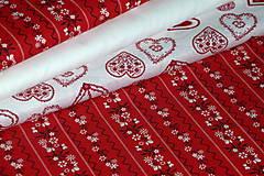 Textil - Látka Kvietky v pruhoch na červenej - 8465784_