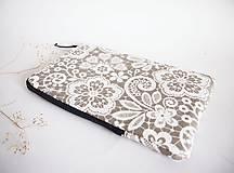 Na tablet - Béžová krajka obal na tablet (rozmer č.3) - 8466412_