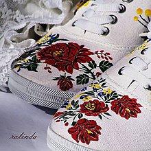 Obuv - Folklórní svatební tenisky - růže III. - 8464980_