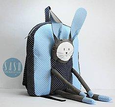 Detské tašky - RUKSAK so ZAJKOM modrý 2,5r. - 8467511_