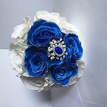 Kytice pre nevestu - svadobná kytica modré ruže - 8465949_