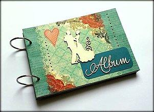 Papiernictvo - Vintage svadobný scrapbook mini album ,,Milenci v tyrkysovej