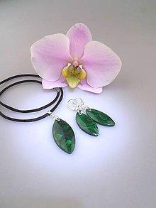 Sady šperkov - Malachit náušnice prívesok - luxusný set v striebre Ag925/1000 - 8465075_