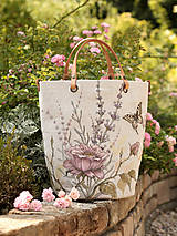 Kabelky - Veľká, ručne maľovaná kabelka z ľanu