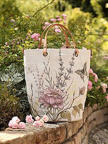 """Kabelky - Veľká, ručne maľovaná kabelka z ľanu """"Rosie"""" - 8465561_"""