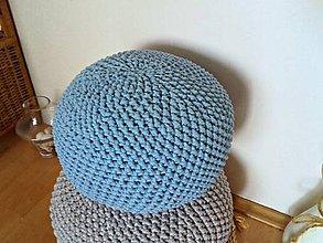 Úžitkový textil - Háčkovaný PUF svetlomodrý bavlna - 8464473_
