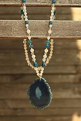 Náhrdelníky - Náhrdelník z minerálov achát, jadeit, opalit, krištáľ - 8466548_