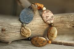 Náramky - Boho náramok z minerálov jaspis, bronzit, koral... - 8466763_