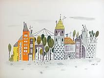 - Mesto 19 skleník - ilustrácia obraz / originál maľba - 8468694_