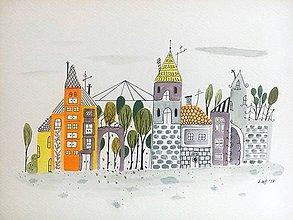 Obrazy - Mesto 19 skleník - ilustrácia obraz / originál maľba - 8468694_