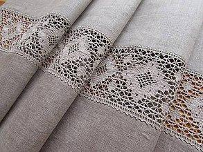 Úžitkový textil - Ľanová štóla s krajkou Dream - 8468810_