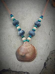 Náhrdelníky - náhrdelník Mušľa + modrý Koral - 8468545_