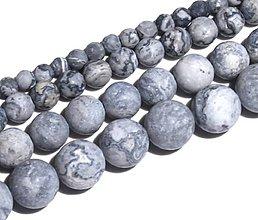 Minerály - KM103 Korálka prírodná - kameň matný šedý 8 mm - 8468716_