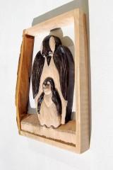 Socha - Drevený obraz - Tučniak s mláďaťom - 8469687_