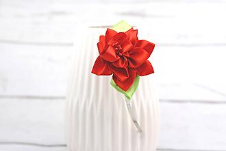 Ozdoby do vlasov - Čelenka červený kvet - 8469134_