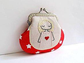 Peňaženky - Len ja a môj svet - červená rámčeková peňaženka - 8467890_