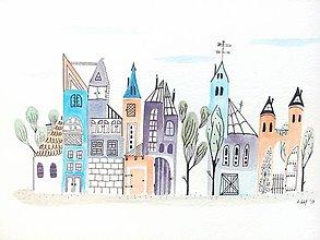 Obrazy - Mesto 20 - ilustrácia obraz / originál maľba - 8471117_