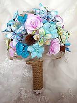Kytice pre nevestu - Svadobná kytica z papierových kvietkov - 8470733_