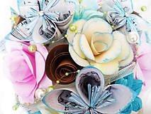 Kytice pre nevestu - Svadobná kytica z papierových kvietkov - 8470734_