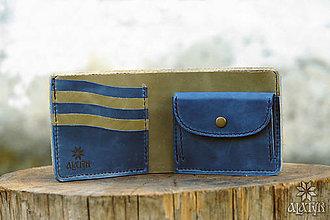 Tašky - Kožená peňaženka VI. modro-olivovozelená - 8471954_
