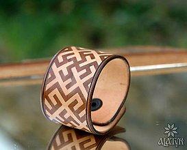 Náramky - Kožený náramok Kvet paprade - 8471961_