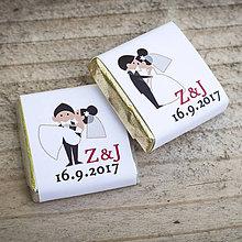 Darčeky pre svadobčanov - Svadobné čokoládky Mladomanželia - 8470767_