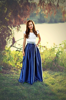 Sukne - MAXI skladaná sukňa so zdobeným pásom - 8470721_