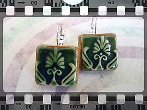 Náušnice - Zelené ....č.138 - 8471533_