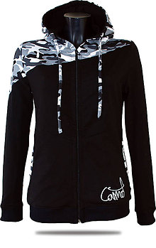 Mikiny - Dámska mikina s kapucňou a zipsom Barrsa Pattern Grey Camo/Black - 8471872_