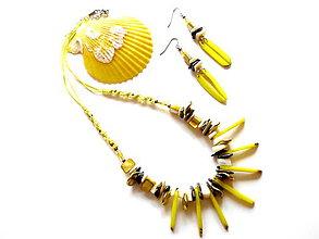 Sady šperkov - Tagua dientes amarillo - 8470899_