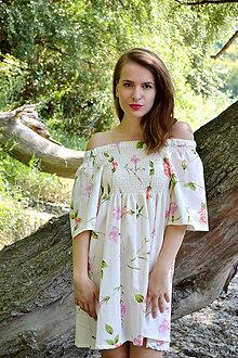 Šaty - Kvetované smotanové šaty plné kvetov - 8471280_