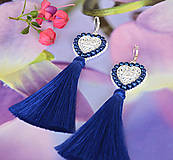 Náušnice - Srdiečkové náušnice bielo-modré - 8470867_