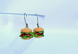 Náušnice - Hamburgery - visiace náušnice - 8474167_