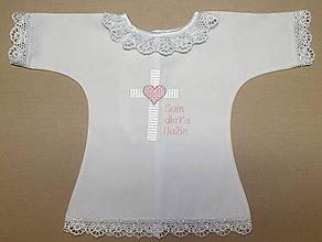 Detské oblečenie - Krstná košieľka - kríž so srdcom ružová - 8475745_