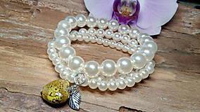Náramky - Trojradový perlový náramok 1 - 8475138_