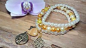 Náramky - Trojradový perlový náramok 6 - 8475245_