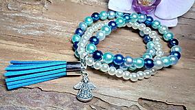 Náramky - Trojradový perlový náramok 12 - 8475787_