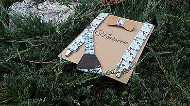 Detské doplnky - Detský set - drevený motýlik a traky - 8473251_