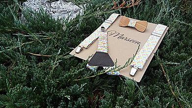 Detské doplnky - Detský set - drevený motýlik a traky - 8473267_