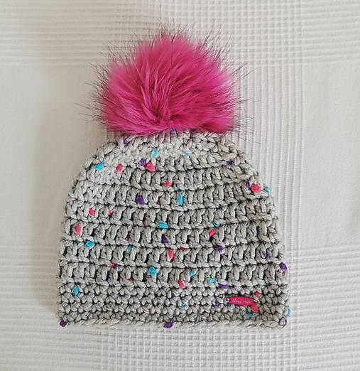 f9ce72436 Sivo ružovo tyrkysová zimná čiapka / terilh - SAShE.sk - Handmade ...